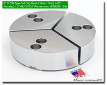 "6"" Aluminum Full Grip Round Jaws for B-206 Chucks (1.5"" HT, 6"" Pie diameter)"