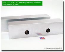 """12 x 2.5 x 2"""" Oversized (Extension) Aluminum Soft Jaws for 6"""" Vises"""