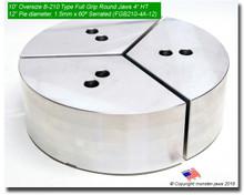 """10"""" Oversized Aluminum Full Grip Jaws for B-210 Chucks (12"""" Pie diameter, 4"""" HT)"""