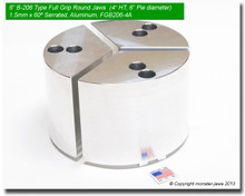 "6"" Aluminum Full Grip Round Jaws for B-206 Chucks (4"" HT, 6"" Pie diameter)"