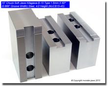 """15"""" Steel Jaws 1.5mm x 60° Serrated for B-15 Chucks (4"""" HT, 0.866 Groove)"""
