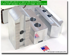 """12"""" Aluminum Jaws 1.5mm x 60° Serrated for B-12 Chucks Pointed (2.5"""" HT, 0.709 Groove)"""