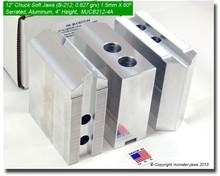 "12"" Aluminum Soft 1.5mm x 60° Serrated for B-212 Chucks (4"" HT, 0.827 Groove)"