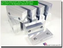 "10-Pack 6 x 3 x 1"" Aluminum Standard Vise Jaws for 6"" Vises"