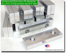 "10-Pack 6 x 2 x 0.75"" Aluminum Standard Vise Jaws for 6"" Vises"