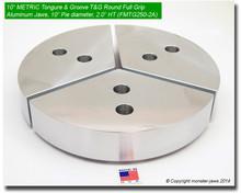 """10"""" METRIC Tongue & Groove Aluminum Round Full Grip Jaws (2"""" HT, 10"""" Pie Diameter)"""