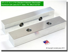 """10 x 2 x 1.5"""" Oversized (Extension) Aluminum Soft Jaws for 6"""" Vises"""