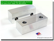 "6 x 2.5 x 2"" Aluminum Standard Soft Jaws for 6"" Vises"
