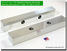 "12 x 2 x 1.5"" Oversized (Extension) Aluminum Soft Jaws for 6"" Vises"