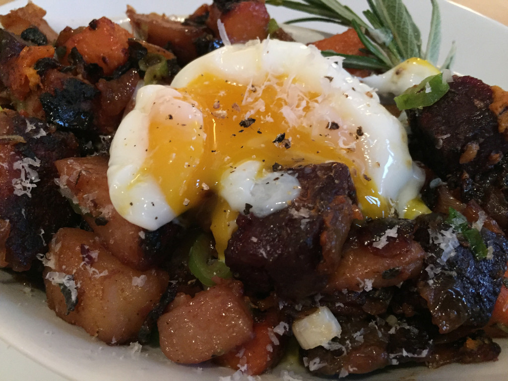 Sweet Potato Hash with 48 Hour Slab Bacon & Eggs