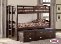 3340 Merlot Maddock Twin - Twin Bunk Bed with Trundle