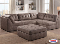 9377 Pecan Odele Sectional Living Room with Ottoman