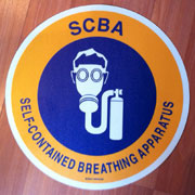 Custom SCBA sign with graphics.