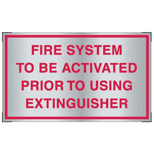 Aluminum Fire System Activation Sign For Cooking System