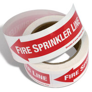 Fire Sprinkler Line Self-Adhesive Labels w/ Directional Arrows