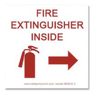 Fire Extinguisher Inside Label w/ Graphic and Directional Arrow