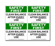 Safety First Clean Balance After Each Use Label, Small, 4 Labels/Card