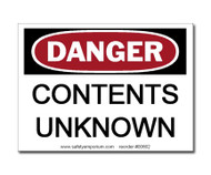 Danger Contents Unknown Label