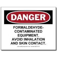 Danger Formaldehyde Contaminated Equipment, Avoid...Label