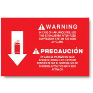 "Bilingual extinguisher sign, wet chemical, kitchen, instructional, 12""w x 8""h vinyl"