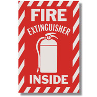 "Fire Extinguisher Inside self-adhesive sign w/ icon, 6""w x 9""h vinyl"