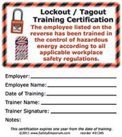 Lockout/Tagout Training Certification Cards, 50/Pkg