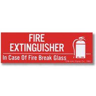 "Fire Extinguisher - In Case of Fire Break Glass self-adhesive label w/ icon, 6""w x 2""h vinyl"