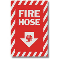"Fire Hose sign w/ arrow and icon, 8""w x 12""h vinyl"