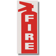 "Die Cut Fire Extinguisher Sign w/ FIRE and Icon, White on Red, 3""w x 8.5""h vinyl"