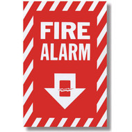 "Fire alarm sign with arrow and icon, 8""w x 12""h vinyl"
