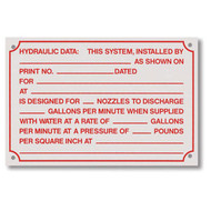 "Fire sprinkler hydraulic data placard, aluminum, 6""w x 4""h"