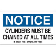 Gas Cylinder Labels - NOTICE Cylinders Must Be Chained At All Times, 10/Pkg