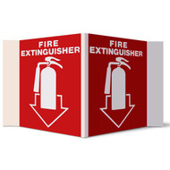 "Fire Extinguisher 3-D rigid plastic wall sign w/ icon and arrow, 5""w x 6""h per side"