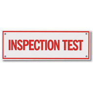 "Inspection Test Aluminum Sprinkler Identification Sign, 6""w x 2""h"