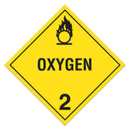 DOT Hazardous Material Placards, Class 2, Oxygen