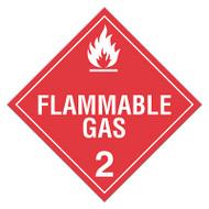 DOT Hazardous Material Placards, Class 2, Flammable Gas