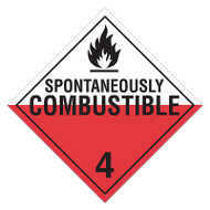 DOT Hazardous Material Placards, Class 4, Spontaneously Combustible