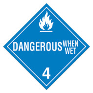 DOT Hazardous Material Placards, Class 4, Dangerous When Wet