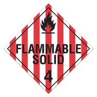 DOT Hazardous Material Placards, Class 4, Flammable Solid