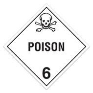 DOT Hazardous Material Placards, Class 6.1, Poison