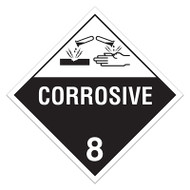 DOT Hazardous Material Placards, Class 8, Corrosive