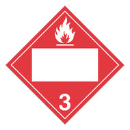 4 Digit Blank DOT Placards, Class 3, Flammable Liquid