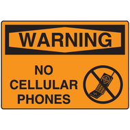 Sign, WARNING, No Cellular Phones w/ Graphic