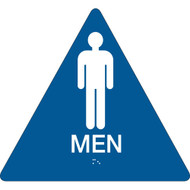 California ADA Rest Room Sign, MEN w/ Grade 2 Braille, Blue