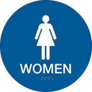 California ADA Rest Room Sign, WOMEN w/ Grade 2 Braille, Blue