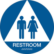 California ADA RESTROOM Sign w/ Grade 2 Braille, Blue