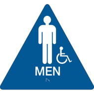 California ADA Rest Room Sign, MEN w/ Grade 2 Braille + Wheelchair Icon, Blue