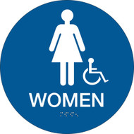 California ADA Rest Room Sign, WOMEN w/ Grade 2 Braille + Wheelchair, Blue