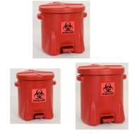 Eagle Biohazardous Waste Safety Cans, Red Polyethylene