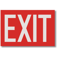 "Exit Signs, White Lettering on Red Background, 12"" w x 8"" h"